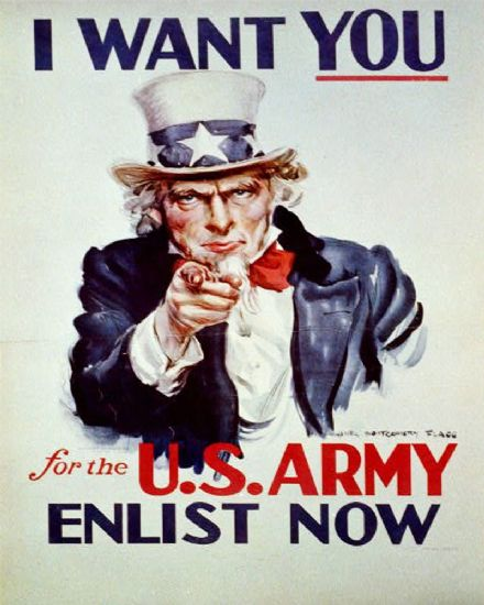 I Want You For The U.S. Army Enlist Now - Metal Propaganda Wall Sign - Retro Art